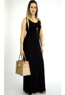 Vestido Pau A Pique Básico Feminino - Feminino-Preto