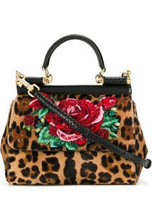 Dolce & Gabbana Bolsa Tote Sicily Leo & Rose Pequena - Marrom