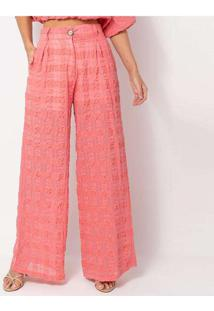 Calça Elora Textura Xadrez Feminina Rosa