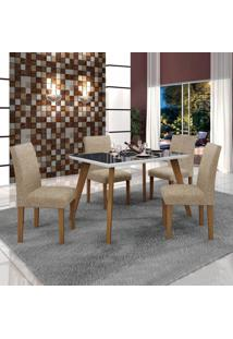 Conjunto Mesa Tampo De Vidro Preto Lavínia E 4 Cadeiras Olímpia Leifer Imbuia Mel/Branco/Linho Bege