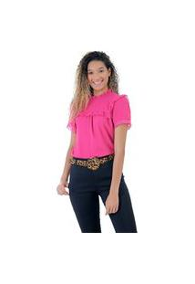 Blusa De Crepe E Renda Pink