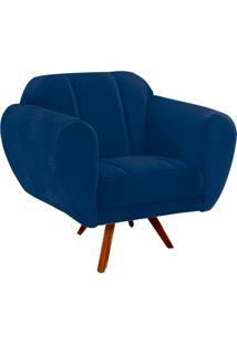 Poltrona Decorativa Melissa Suede Azul Marinho Com Base Giratória Madeira - D'Rossi