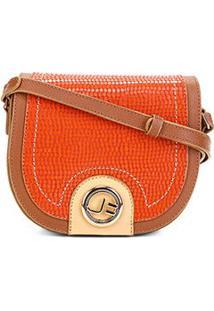 Bolsa Couro Jorge Bischoff Mini Bag Arredondada Feminina - Feminino-Marrom Claro