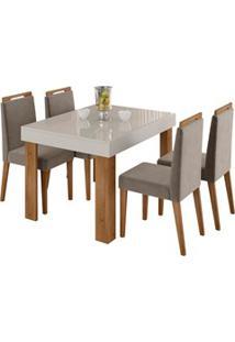 Mesa Retrátil Lena E 4 Cadeiras Para Sala De Jantar Alana N04 Off Whit