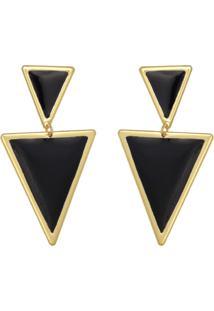 Brinco Prata Mil Com Triângulos Reticulados Borda Lisa E Resina Dourado - Kanui