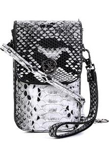 Bolsa Shoestock Porta Celular Transversal Snake Feminina - Feminino-Preto+Branco