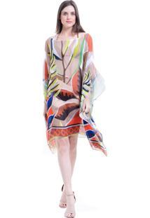 Kaftan 101 Resort Wear Vestido Plus Size Crepe Estampado Folhas Marrom - Multicolorido - Feminino - Dafiti