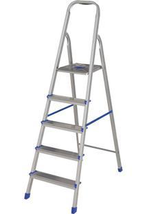 Escada Alumínio 5 Degraus Com Fita De Segurança Mor