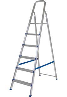 Escada De Alumínio 6 Degraus Mor, Com Fita De Segurança - 5104