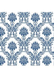 Tecido Adesivo Damasco Azul E Branco
