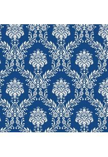 Tecido Adesivo Damasco Branco E Azul