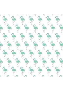 Tecido Adesivo Flamingos Verde