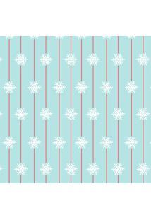 Tecido Adesivo Flocos De Neve Fundo Turquesa