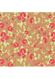 Tecido Adesivo Flor Bela Vermelha Fundo Marrom