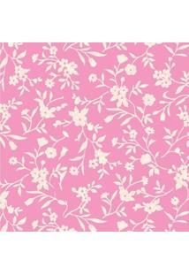 Tecido Adesivo Flor Maria Palha Fundo Rosa Chiclete