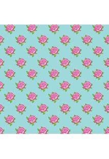 Tecido Adesivo Flores Única Fundo Azul