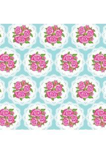 Tecido Adesivo Renda Floral Com Azul