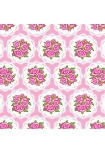 Tecido Adesivo Renda Floral Com Rosa