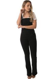 Macacão Jeans Eventual Boot Cut - Feminino-Preto