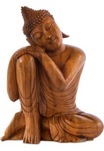 Escultura Buda Relax Em Madeira 52Cm   Bali