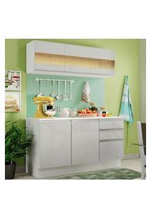 Armário De Cozinha Compacta Madesa Smart 100 Mdf 120 Cm Com Balcão E Tampo Frentes Branco Brilho Branco