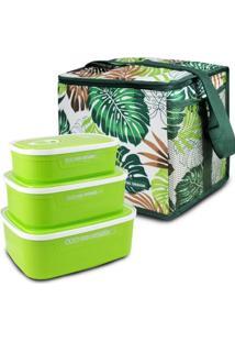 Conjunto Bolsa Térmica Quadrada E Kit De 3 Pçs Potes P/ Alimentos Verde - Tricae