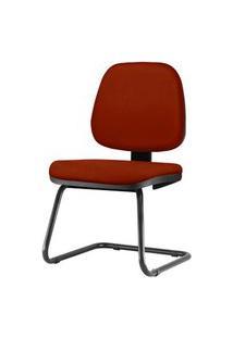 Cadeira Job Assento Crepe Vermelho Bordo Base Fixa Preta - 54562 Vermelho