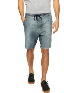 Bermuda Jeans Globe Walk Denim Elástico Filler Azul