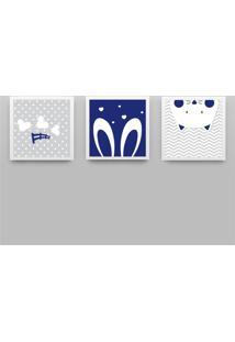 Quadros Amiguinhos Azul Marinho/Branco 3 Peças Azul