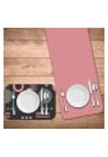 Jogo Americano Com Caminho De Mesa Geometric Pink Kit Com 2 Pçs + 2 Trilhos