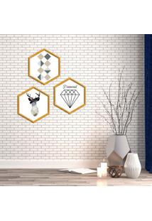 Kit 3 Quadros Com Moldura Hexagonal Diamond