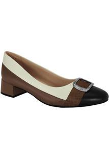 Sapato Em Couro- Marrom & Off White- Salto: 3,5Cmcomfortflex