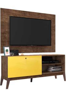 Rack Com Painel Para Tv De Até 49 ?0806P - Genialflex - Branco / Amarelo Camaro