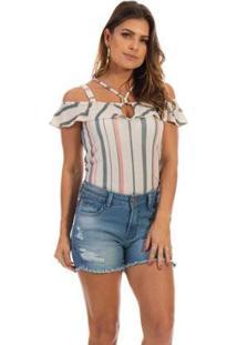Blusa Dioxes Jeans Com Alças E Babado Feminina - Feminino-Bege
