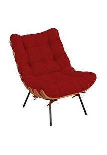 Poltrona Decorativa Sala De Estar Costela Suede Vermelho - Lyam Decor