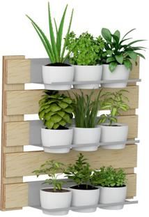 Kit Jardim Vertical 1008 Lyam Decor Green Com 09 Cachepots Bege