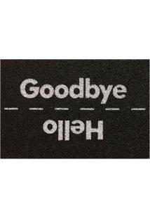 "Capacho ""Hello Bye""- Preto & Branco- 60X40Cm- Kakapazi"