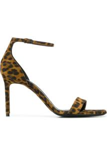 Saint Laurent Sandália Com Animal Print - Marrom