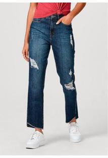 Calça Feminina Em Jeans De Algodão Destroyed - Feminino-Azul