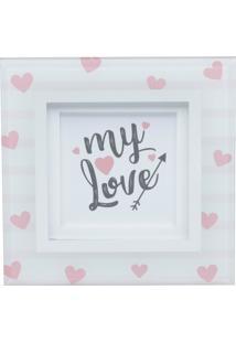 Quadro Placa De Mesa Decor My Love Hearts Rosa E Dourado 15X15 Cm Urban