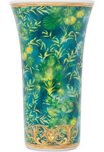 Versace Home Vaso Medusa Com Estampa De Selva - Verde