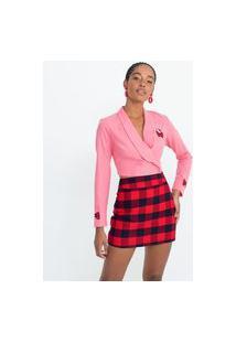 Blazer Cropped Em Viscolinho Com Bordados Hello Kitty   Blue Steel   Rosa   Pp
