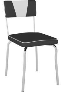 Cadeira Retrô Corino Pretoc/ Det Branco/Cromado Pozza