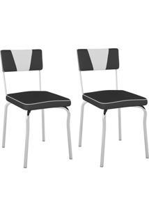 Kit Com 2 Cadeiras Retrô Corino Preto/ Det Branco/Cromado Pozza