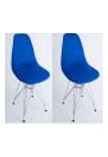Kit Com 02 Capas Para Cadeira Charles Eames Eiffel Wood Azul