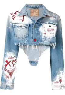 Mjb Cropped Painted Denim Jacket - Azul