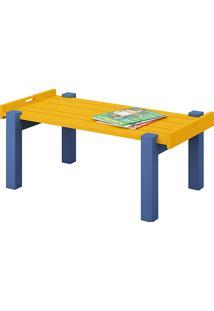 Mesa Centro Retangular Barra Estilo Bandeja Azul/Amarelo (38,5X94X51,4Cm) - Katzer