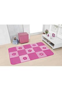 Tapete Passadeira Premium 120Mx74Cm Margaridas Pink Guga Tapetes