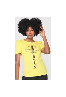 Camiseta Dimy Mangas Bufantes Lettering Amarela