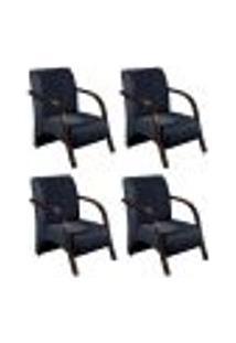 Conjunto De 4 Poltronas Sevilha Decorativa Braço De Madeira Cadeira Para Recepção, Sala Estar Tv Espera, Escritório, Vários Ambientes - Suede Azul